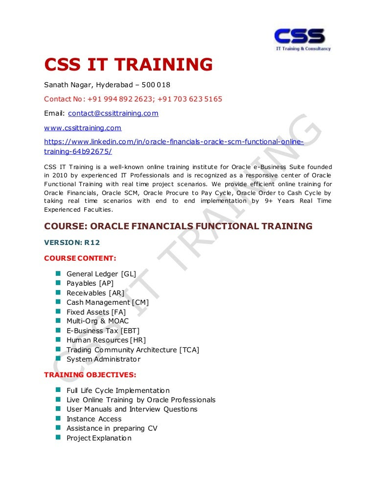 Oracle Financials Online Training institutes in Hyderabad India