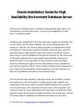 Oracle installation guide for high availability environment database server