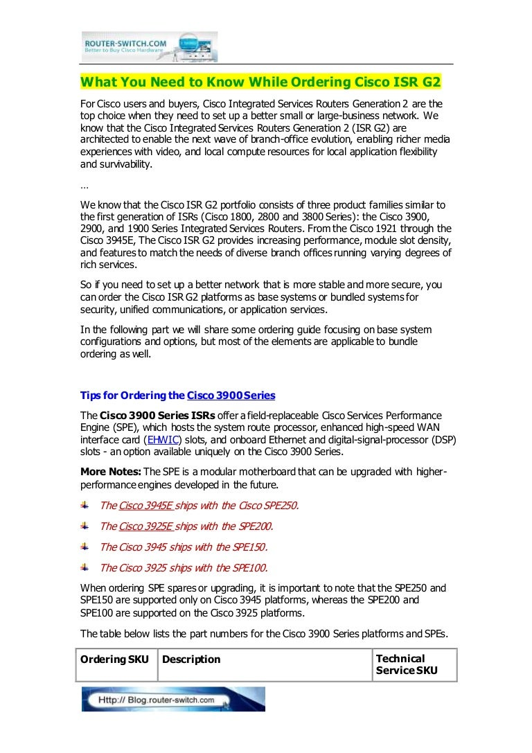 Ordering Guide For Cisco Isr G2