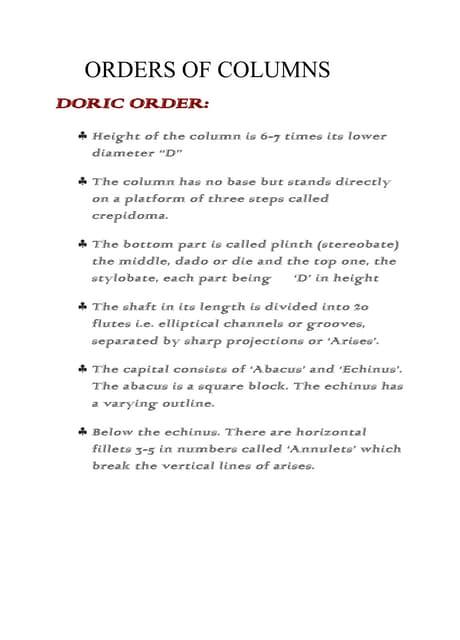 Orders of columns