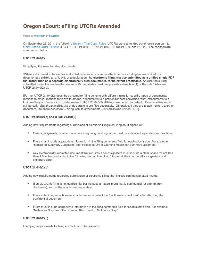 Oregon eCourt: eFiling UTCRs Amended