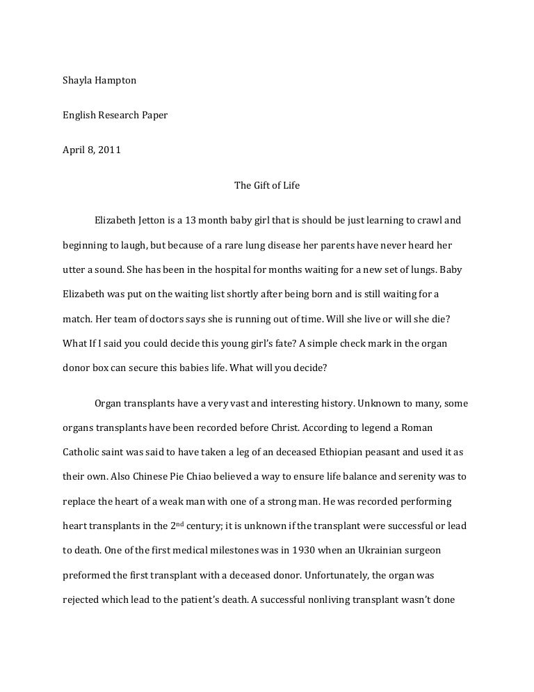 Process Essay Example Paper Organ Donation Essay Essay Format Example For High School also Politics And The English Language Essay Organ Donation Essay  Organ Donation Narrative Essay Thesis Statement Examples