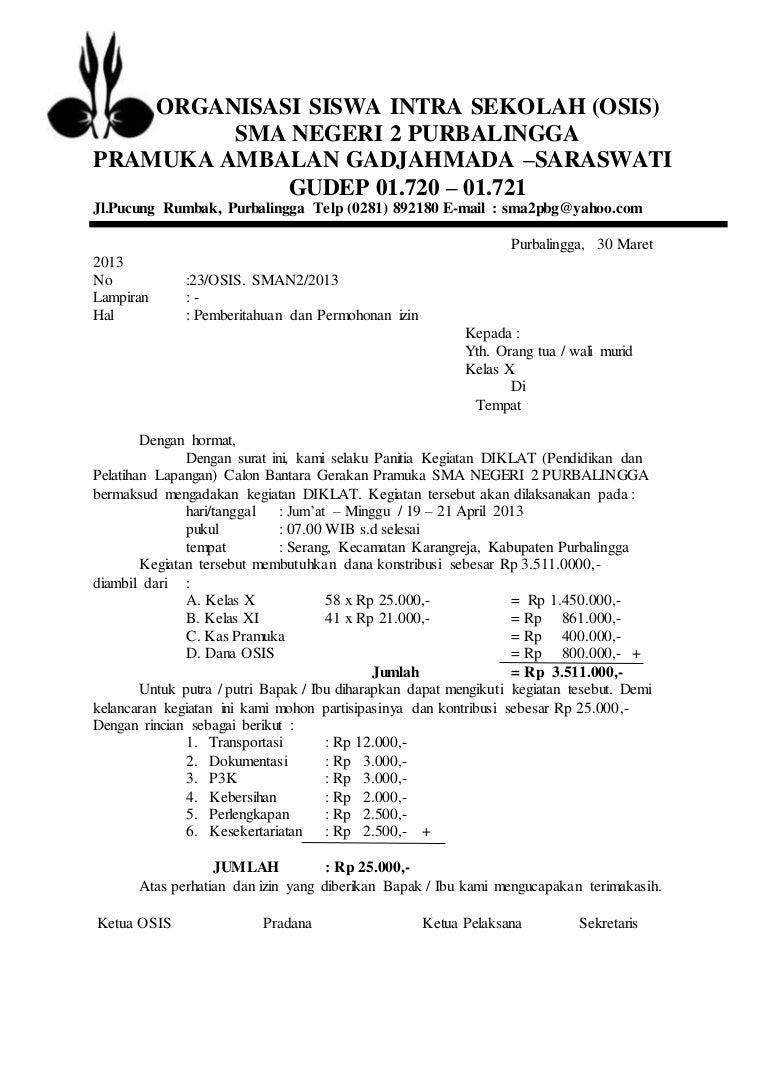 Contoh Surat Resmi Organisasi Sekolah