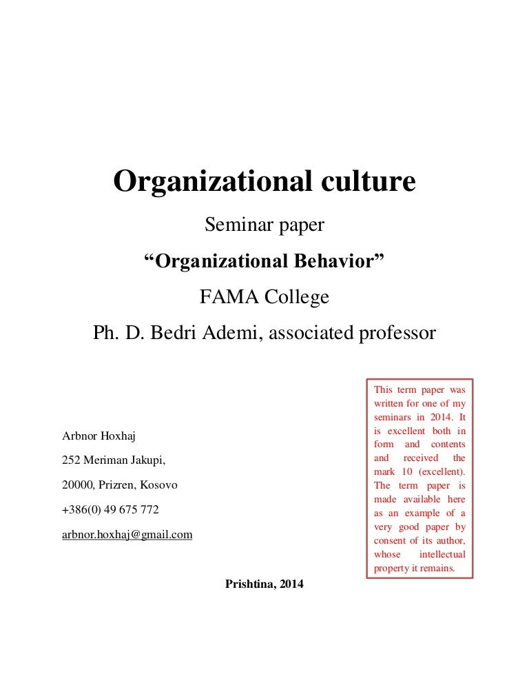 term paper on organizational behavior Reilly organizational behavior and popular presentation writing service for phd human decision processes 50, 179-211 (1991) the theory of planned behavior icek ajzen university of massachusetts at term paper for organizational behavior amhersi research.