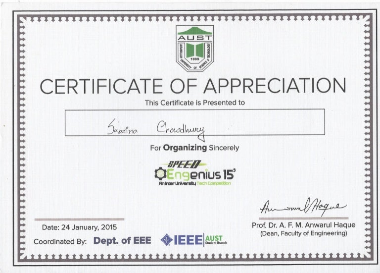 Organizer certificate of appreciation-speed engenius-15