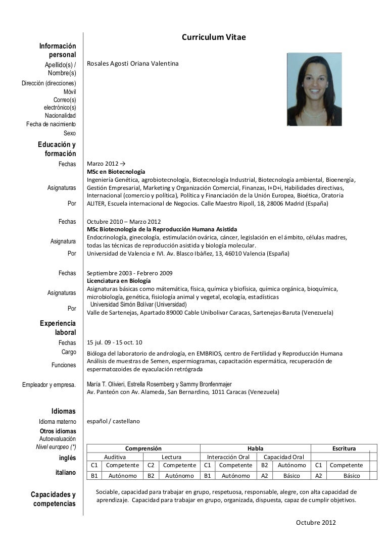 Oriana rosales. cv slide share octubre 2.012