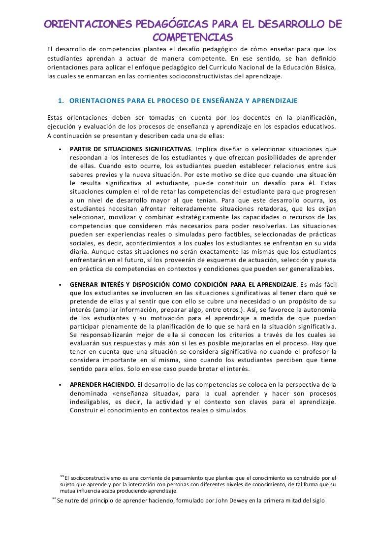 Orientaciones pedagogicas para el desarrollo de competencias