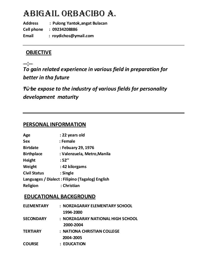 Sample Resume Jollibee Applicant - frizzigame