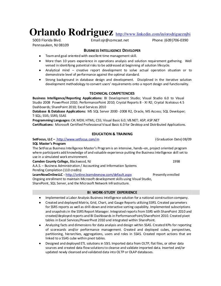 bi developer resume - Bi Developer Resume