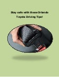 Orlando Toyota Driving Tips Keep You Safe!