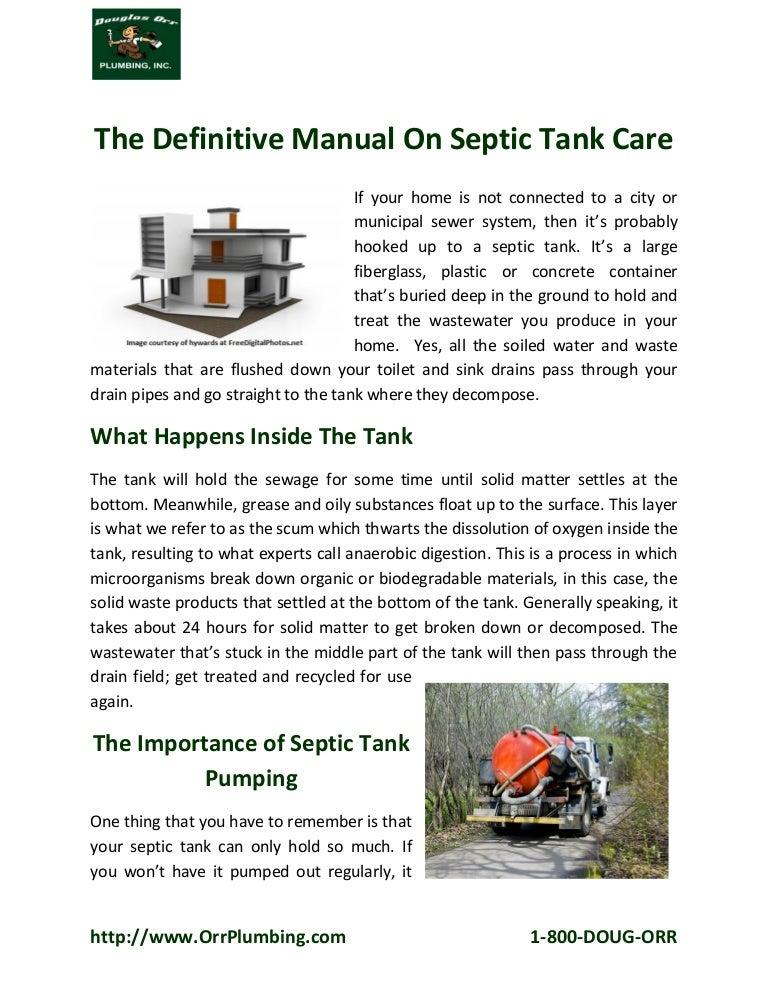 Aerobic Septic Tank Manual Guide