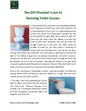 The DIY Plumber's List of Running Toilet Causes