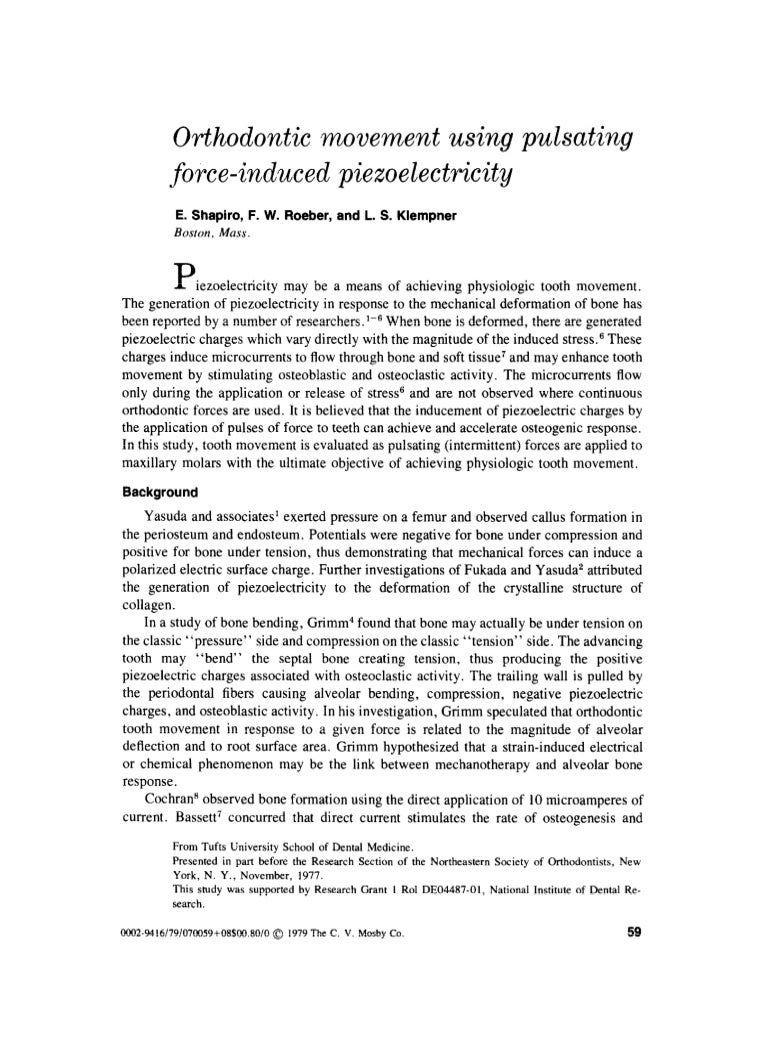 Orthodontic movement using pulsating force induced peizoelctricity