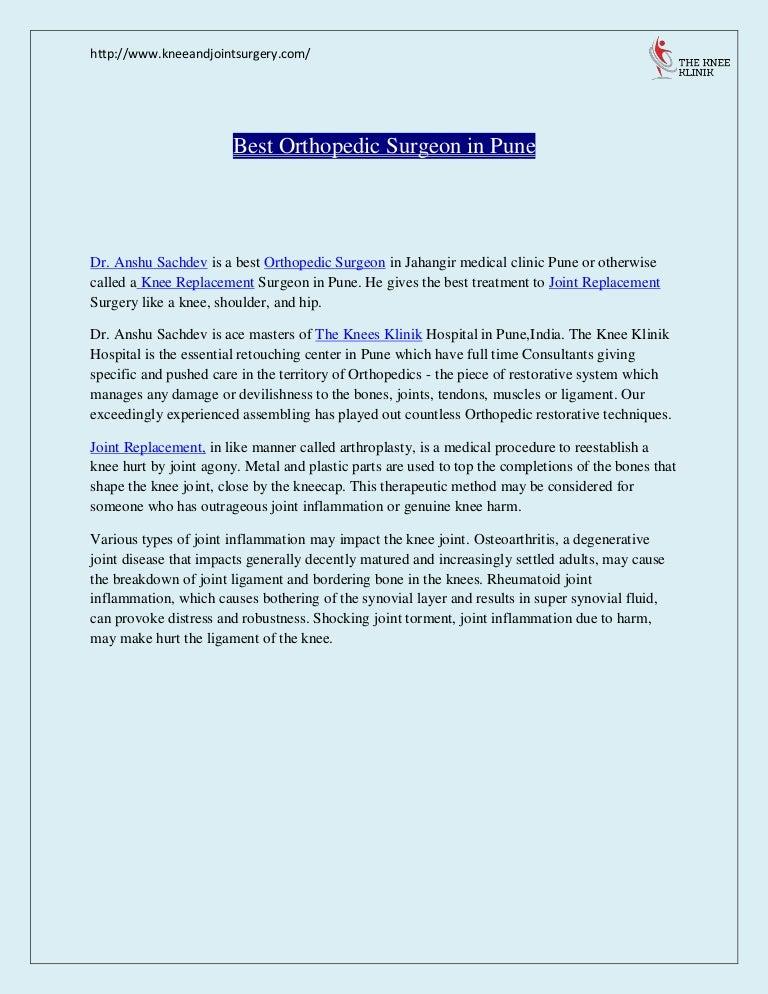 Best Orthopedic Surgery | Doctors in Pune | The Knee Klinik