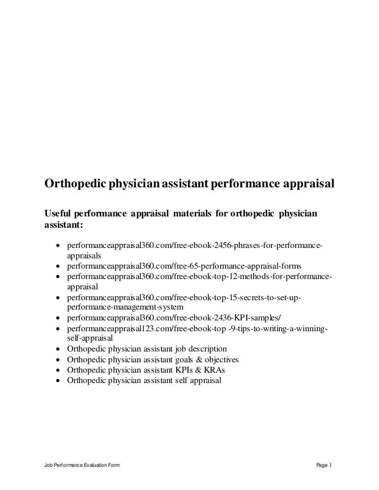 orthopedicphysicianassistantperformanceappraisal150627072316lva1app6892thumbnail4jpgcb 1435389847 – Physician Assistant Job Description
