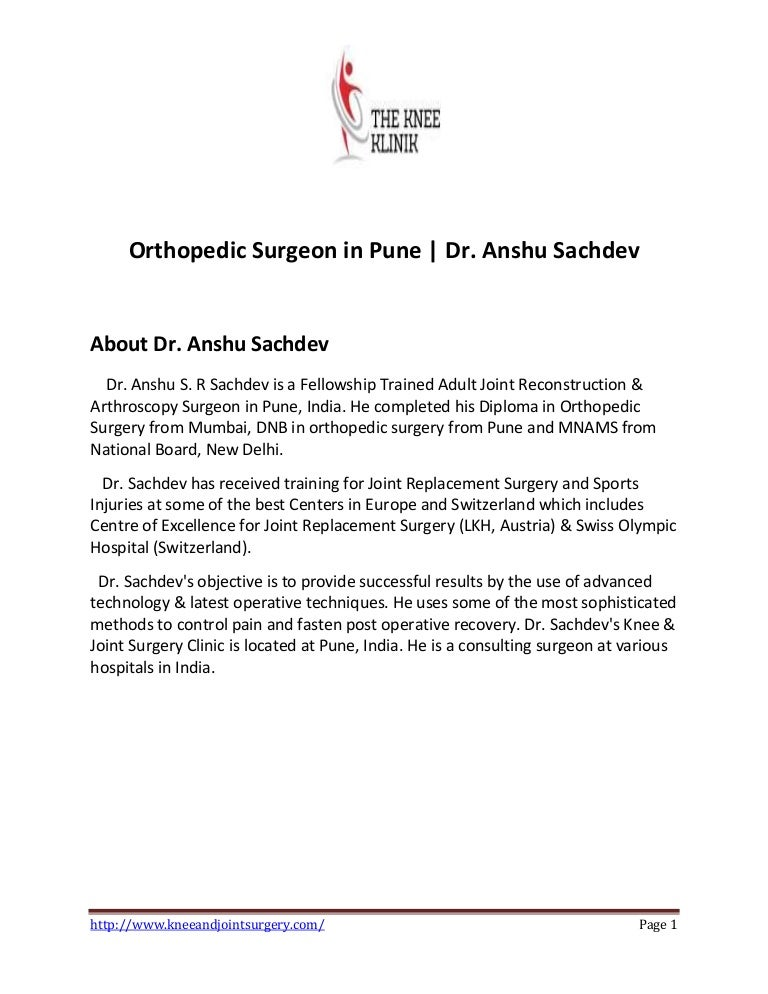 Best Orthopaedic surgeon in Pune | Dr Anshu Sachdev
