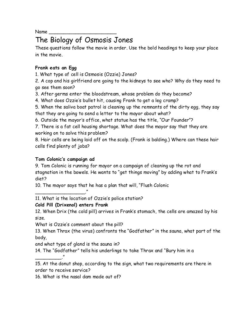 Osmosis Jones – Osmosis Worksheet