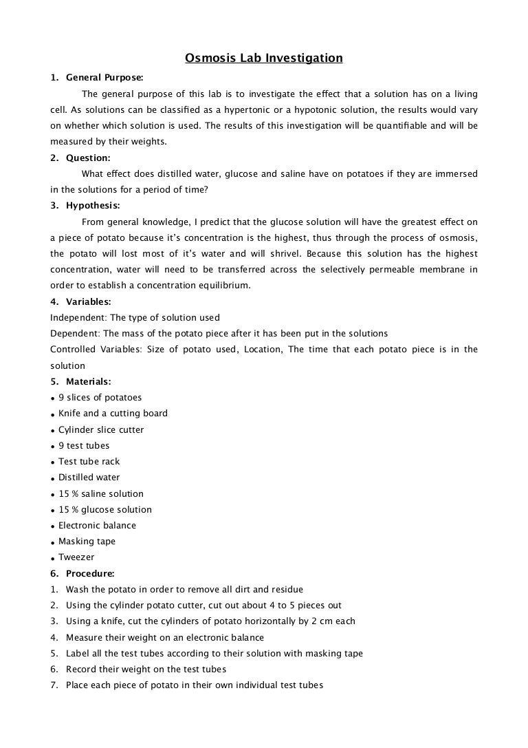 Diffusion and osmosis lab report potato