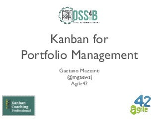 Kanban for Portfolio Management