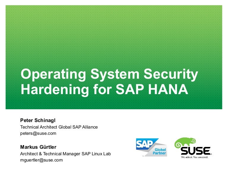 OS Security Hardening for SAP HANA