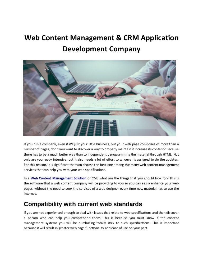 Web Content Management Crm Application Development Company