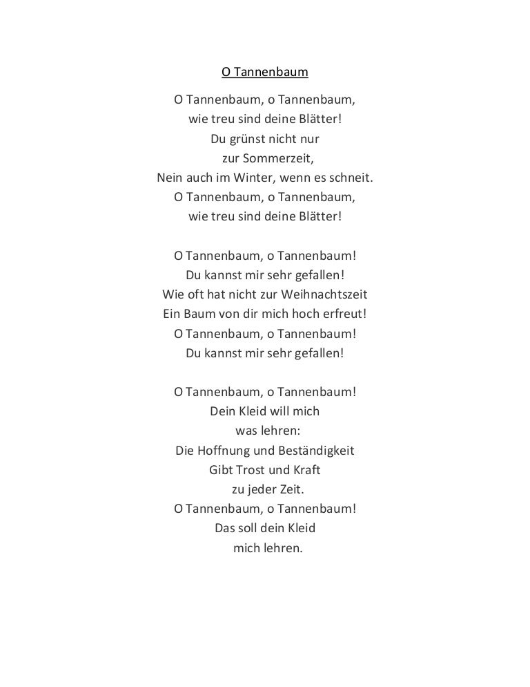 Tannenbaum Lyrics.O Tannenbaum Lyrics