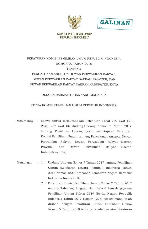 Pkpu Nomor 20 Tahun 2019 Tentang Syarat Pencalonan Legislatif