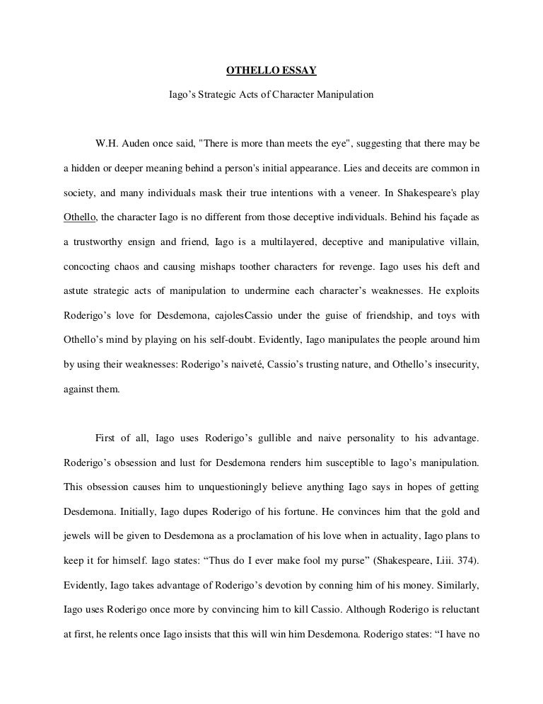 othello essay on iagos manipulation