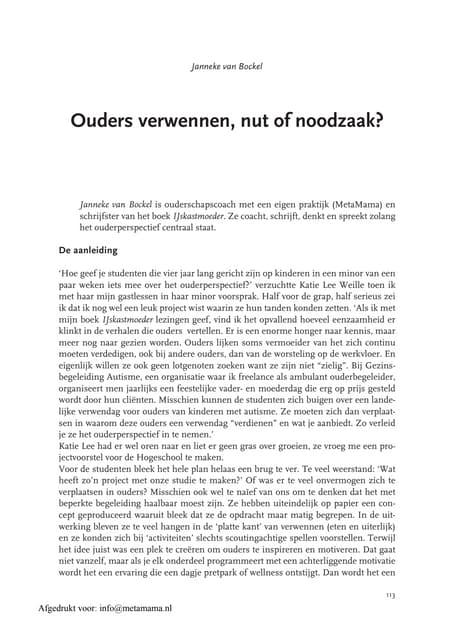 Ouderschapskennis Ouders Verwennen, Nut Of Noodzaak Janneke Van Bockel