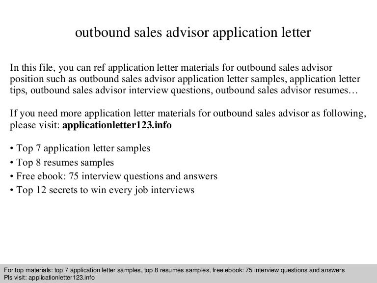 Outbound sales advisor application letter