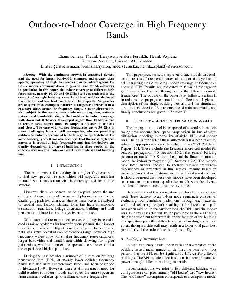 Conference Paper: Outdoor-to-Indoor Coverage in High-Frequency Bands