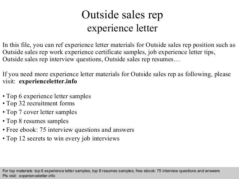 outsidesalesrepexperienceletter 140827030033 phpapp02 thumbnail 4jpgcb1409108457 - Sample Outside Sales Resume