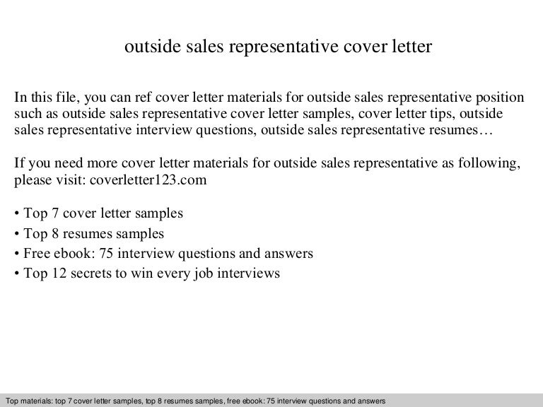 outside sales representative cover letter - Sales Representative Cover Letter Samples