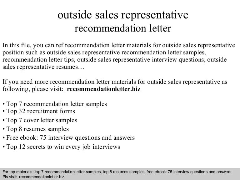 outside sales representative recommendation letter - Sample Outside Sales Cover Letter