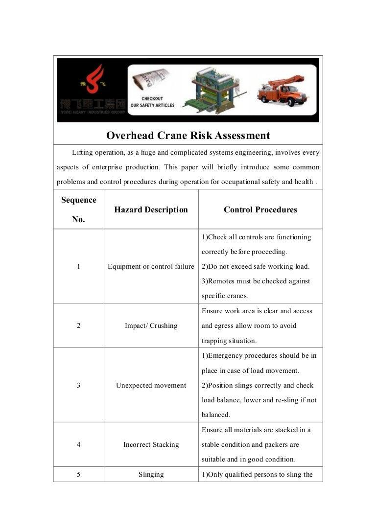 load test plan template - overhead crane risk assessment