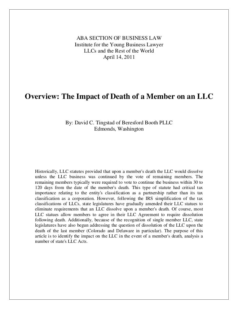 Overview the impact of death of a member on an LLC