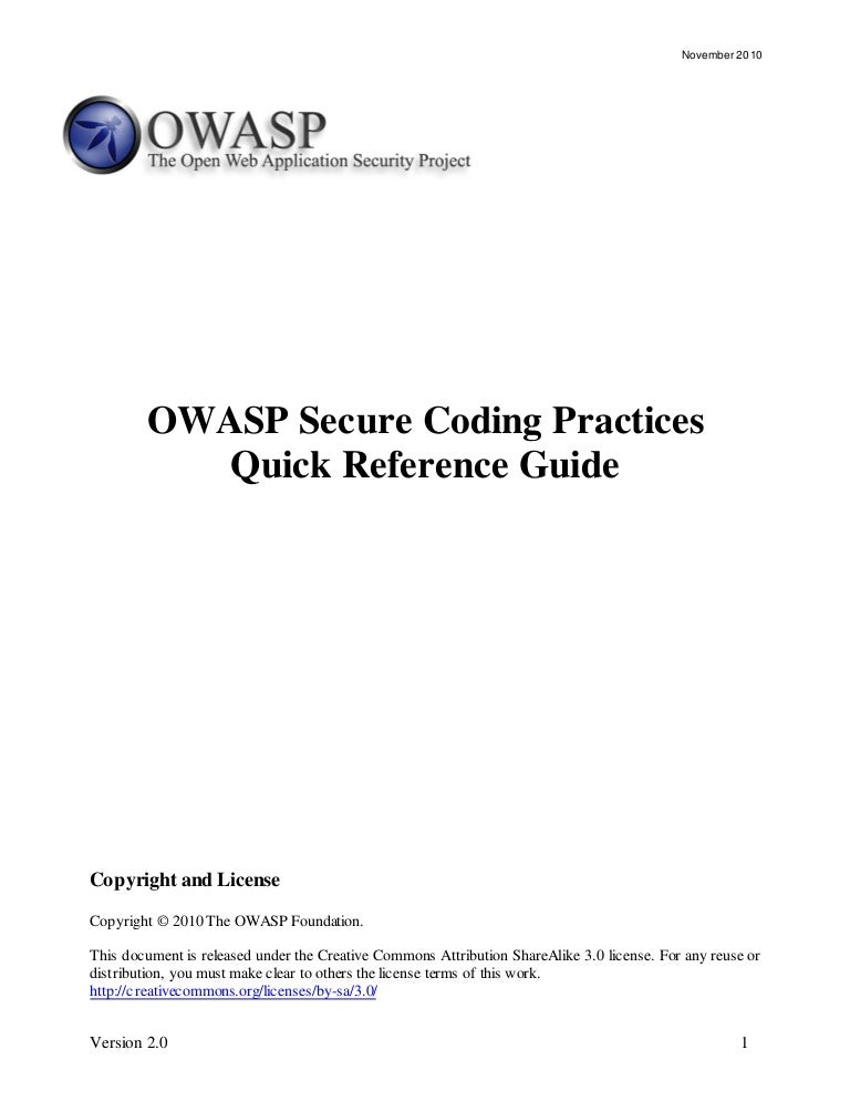 OWASP Secure Coding Quick Reference Guide