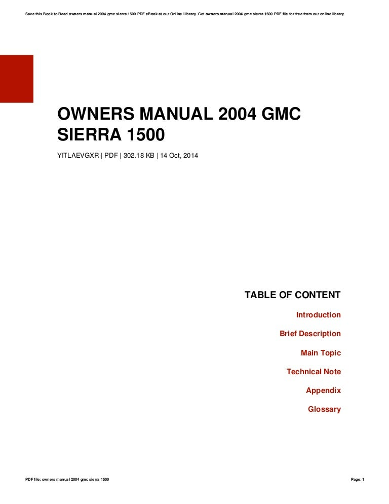owners manual 2004 gmc sierra 1500 rh slideshare net 2004 gmc sierra 1500 repair manuals pdf 2004 GMC 1500 Sierra Commercial