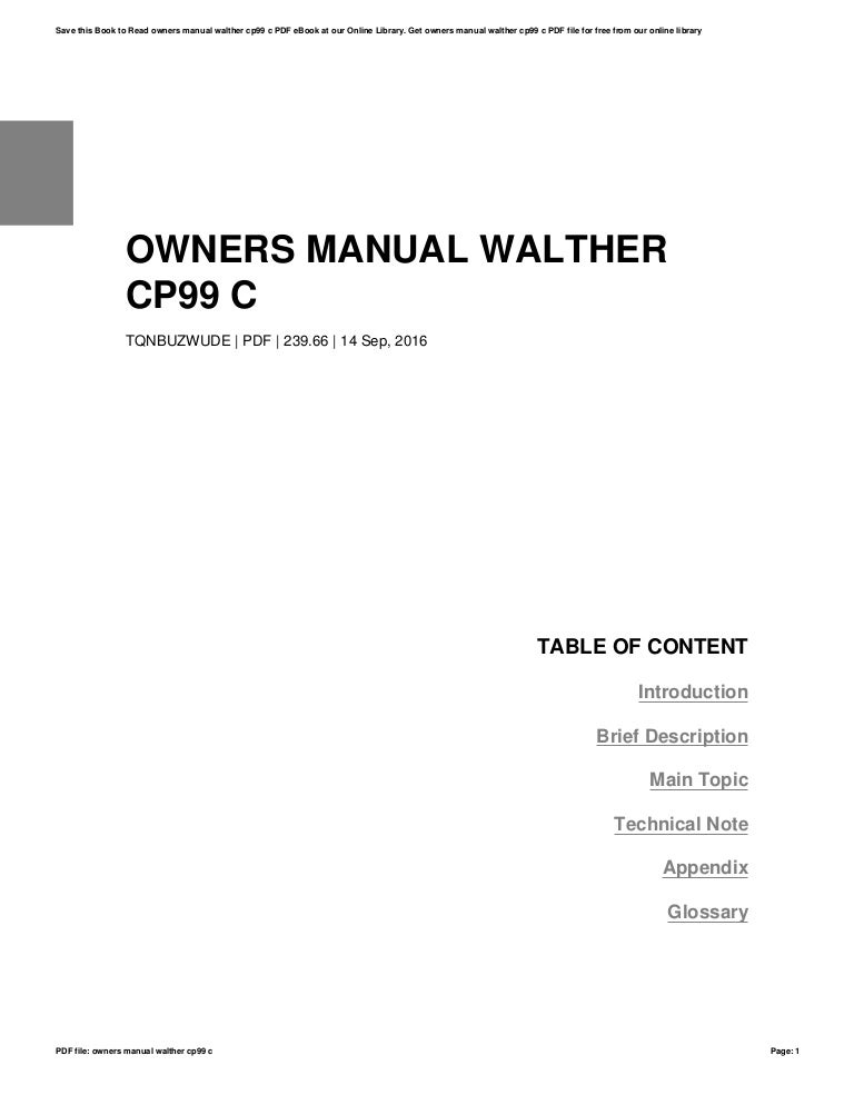 Owners manual-walther-cp99-c