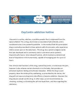 Oxy contin addiction hotline