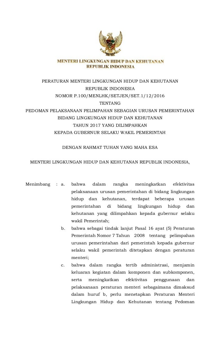 P 100 Pedoman Pelaksanaan Pelimpahan Sebagian Urusan