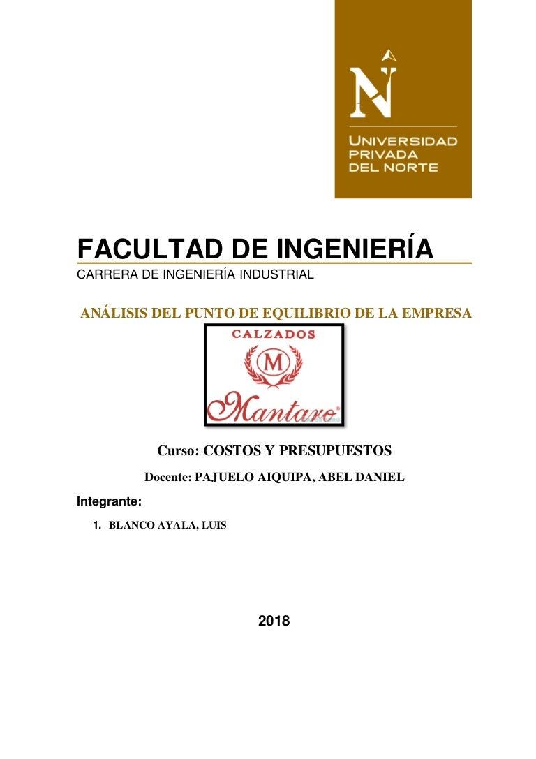 PUNTO DE EQUILIBRIO DE LA EMPRESA DE UNA CALZADOS d0bbc8bdd300
