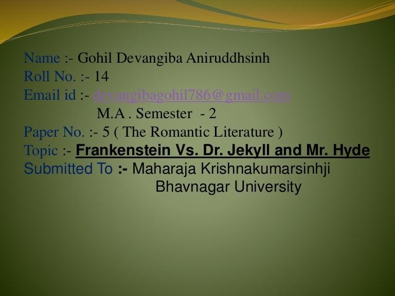 Frankenstein Vs Dr Jekyll And Mr Hyde