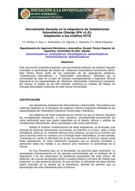 Herramienta docente en la asignatura de instalaciones fotovoltaicas (Design SFA v1.0). Adaptación a los créditos ECTS