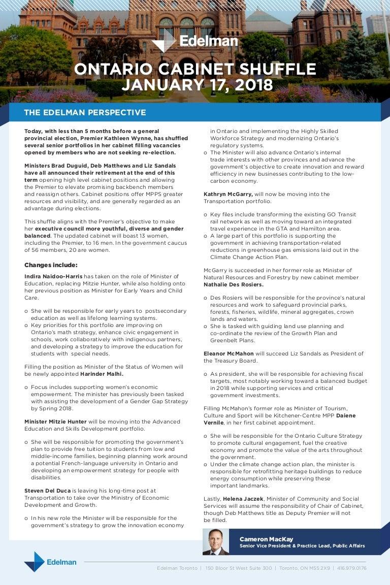 Edelman Public Affairs - Ontario Cabinet Shuffle 2018