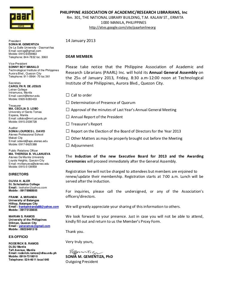 Paarl Invitation Letter To Attend The 2013 General Assemblys Ga