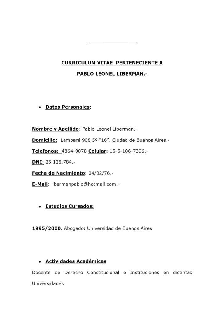 Dr Pablo liberman, CV ( Equipo de abogados)