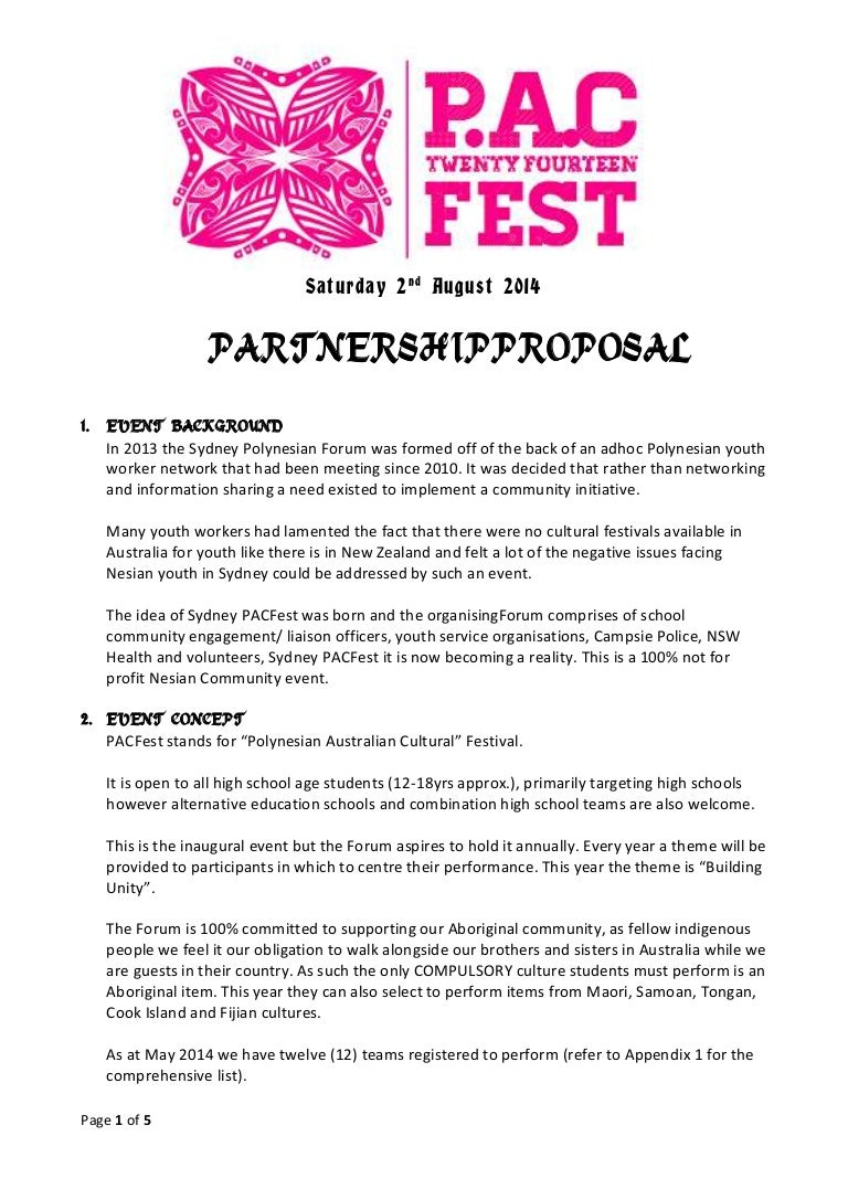 sydney pacfest 2014 partnership proposal