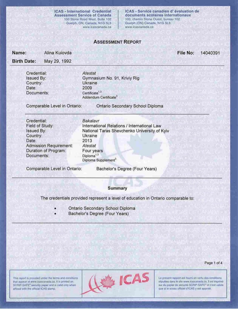 Evaluation from ICAS of School Sertificate and Bachelor Degree Diploma