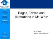 Pages, tables and illustrations